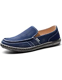 Men's Casual Canvas Slip-on Loafers Vintage Flat Boat Shoes Outdoor Leisure Walking Sneakers