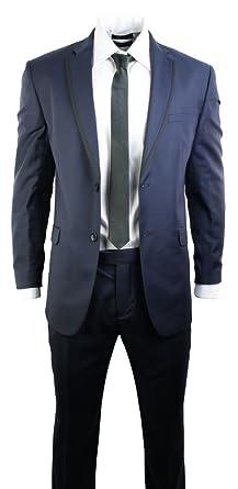 9bcbc01b6560 Costume Homme Bleu Marine Veste et Pantalon Style Professionnel Mariage 2  Boutons détails Noirs  Amazon.fr  Vêtements et accessoires