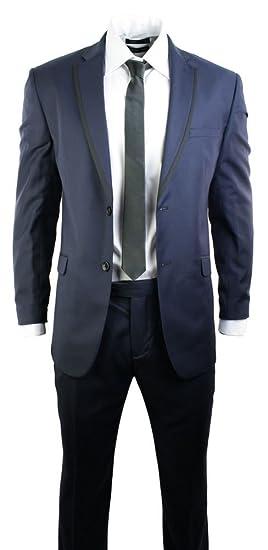 Voeut Mens Navy Blue Fitted Suit Blazer Trouser Office Wedding 2