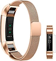 Fitbit Alta Metal Bands, UMTELE Stainless Steel Milanese Loop Replacement Strap for Fitbit Alta, Alta HR(Including Screen Protectors)