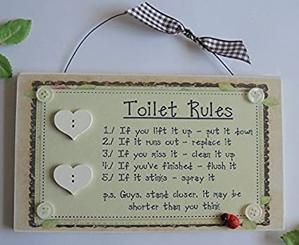 Outstanding Toilet Bathroom Rules Sign Plaque Wall Art Loo Humorous Download Free Architecture Designs Scobabritishbridgeorg