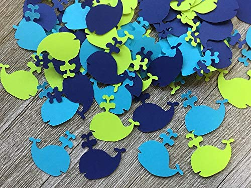 Whale Confetti -Navy Blue Lime Green Aqua Blue Table Scatter - Nautical Party - 1.5 inch whales (Set of 100 Pieces)