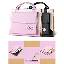 iPad Mini 4 Case Cover,TechCode iPad Wallet File folio Pocket PU Leather Hangbag Magnetic Stand with Auto Sleep / Wake Function for iPad Mini 4-Pink