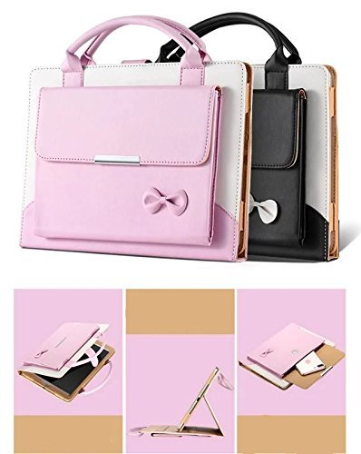 Price comparison product image FuriGer iPad Pro 10.5 Cover,  Portable Lovely Women Handbag Cute Bowknot Slim Fit Synthetic Leather Magnetic Flip Stand Case Cover with Handle & Storage Compartment,  Black