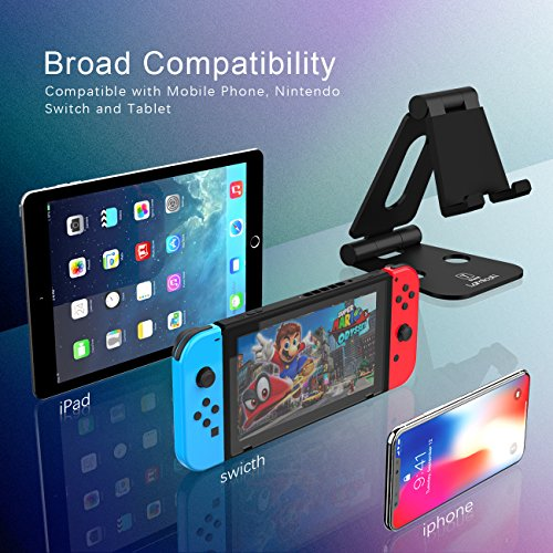 Multi-Angle Stand for Nintendo Switch, Lamicall Playstand : Cell Phone Tablet Video Game Holder Dock Compatible with Phone 7 6 Plus 5, Accessories, iPad and Tablets (4-10'') Foldable Adjustable- Black by Lamicall (Image #2)