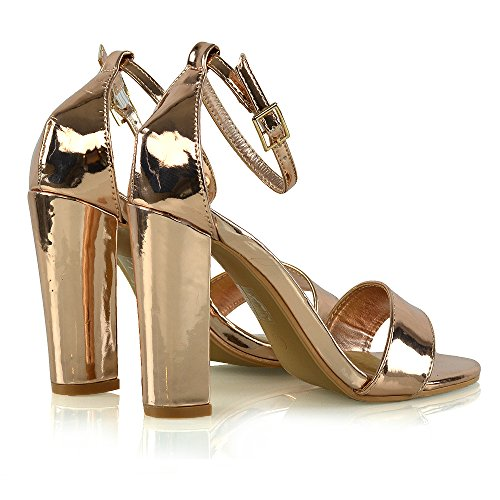 Womens Block Heel Ankle Strap Sandals Ladies Peep Toe Strappy Party Shoes 3-8 Rose Gold Metallic 8w50pUQwe
