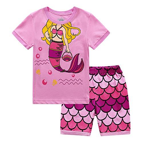 RKOIAN Little Girls' Short Pajamas Sets Toddler PJS Cotton Kids Sleepwears (Pink Mermaid, 4T)]()