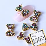 10x3d Colorful Rhinestone Alloy Nail Art Decorations Clear Rhinestones Golden Bowknot Reusable Nail Art Tips Decorations Gadgets By Ladies Beauty Box