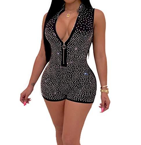 (lisenraIn Women's Sexy Strapless Bodysuit Off Shoulder Rhinestone Bodycon Short Romper Catsuit Clubwear (Black-Zipper Up, L))