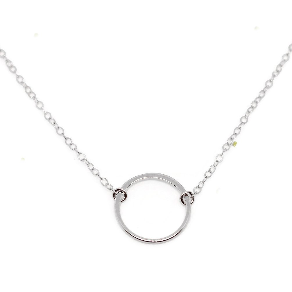 Wild Moonstone Karma Open Circle Necklace, Dainty, 925 Sterling Silver