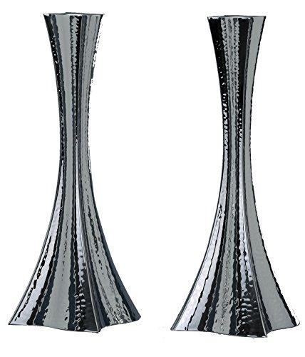 Hazorfim Bolero Hammering Silver Candlesticks - Medium Shabbat candlestick sterling silver judaica Israel Jerusalem Holy land gift Sabbath candles light .925 925 wedding gift present hatzorfim by Hazorfim