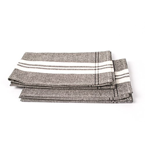 - LinenMe Florence Tea Towels, 19 x 28, Graphite