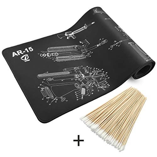 "Twod AR-15 36"" x12 Gun Cleaning Mat Large & Catton Swabs for Rifle