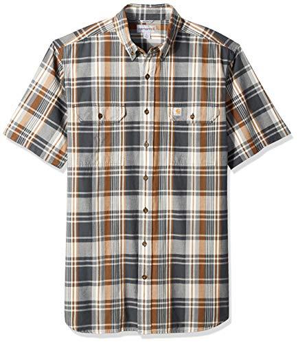 Carhartt Men's Big and Tall Big & Tall Fort Plaid Short Sleeve Shirt, 029-Shadow, 4X-Large