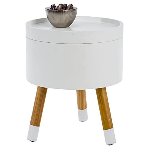 miaVILLA Beistelltisch Tisch mit Stauraum Rund Natur Weiß ca. Ø 38 ...