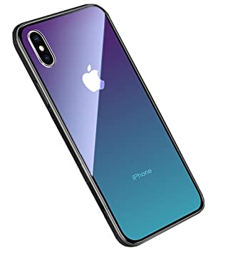 LAYJOY Funda iPhone X, Funda iPhone XS, Ligera Carcasa Silicona Suave Negro TPU Bumper y Transparente Cristal Templado Case de Protectora Anti-Golpes, ...