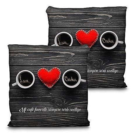 Lolapix Cojín San Valentín. Personalizado con tu Nombre o Texto. Varios tamaños y diseños. Regalo para Enamorados único, Original y Exclusivo. CAFÉ