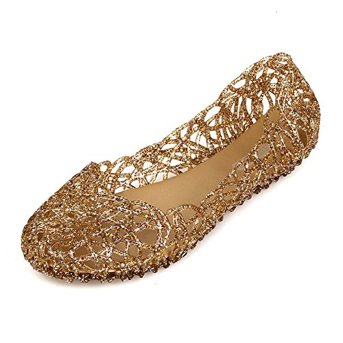 Domucos Womens Slip On Round Toe Ballet Flats Jelly Shoes-Gold-5.5-36 -