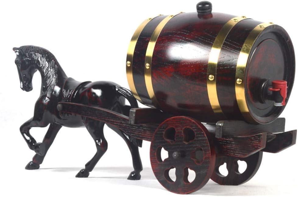 Liansheng Coche de Caballos Barril de Roble hogar Madera Maciza Seca Vino Tinto Barril decoración Adornos pequeños (Size : 1.5L)