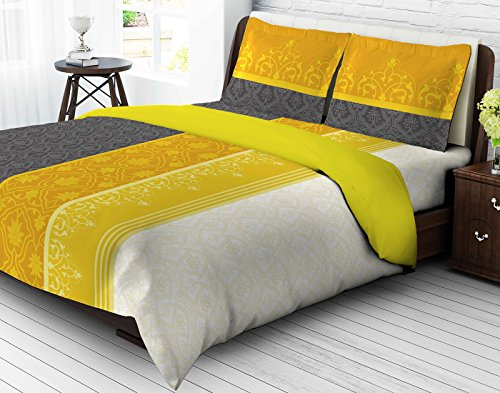 Berry Island 144 TC Cotton Double Bedsheet with 2 Pillow Covers – Ornament, Yellow and Grey