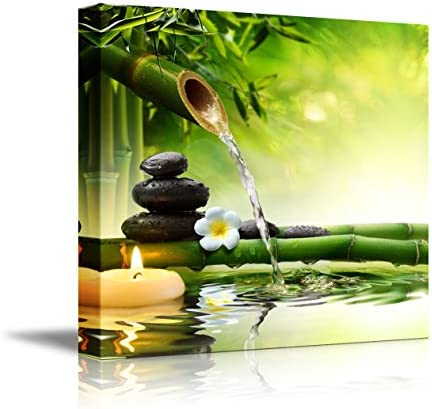 """Canvas Prints Wall Art 16/"""" x 16/"""" Stacked Lava Stones with Bamboo and Water"""