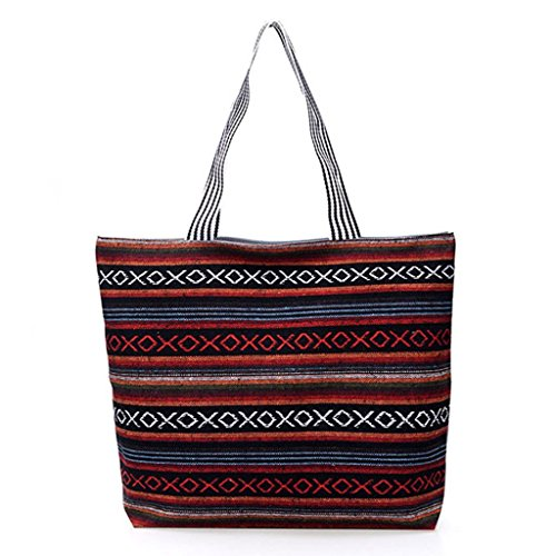 Handbag Fashion Beach Bag Zipper 2 JAGENIE Shoulder Shopping Tote Women Canvas 4 Hobo Large qXnwxEfdU