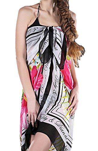 UK_Stone Damen Elegant Blumen Sarong Pareo Strandtuch Wickeltuch Bikini Sonnenschutz Decke Cover-up