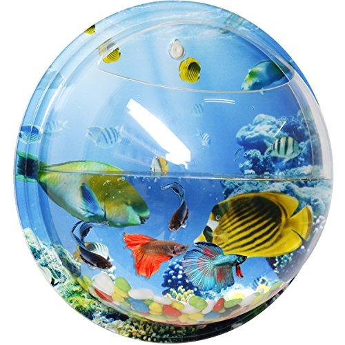 Wall Hanging Mounted Fish Tank, Acrylic Fish Bowl Packaging Include Colored Gravel and Plastic Plant ,Smooth and Clear Surface With Undersea World Background - SupperAcryilc