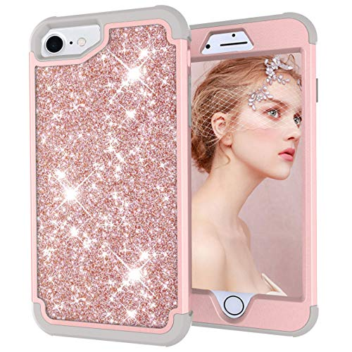 Dual Layer Shockproof Hard PC Case for iPhone 6,Hybrid Armor Sparkle Glitter Back Cover,MOIKY for iPhone 7/8 Rugged Drop Resistant Dust Proof Shell Impact Protection - Gray+Rose Gold