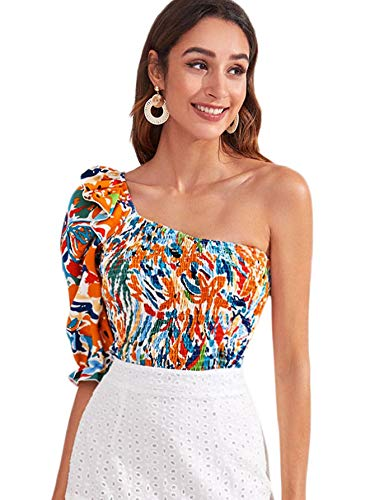SOLY HUX Women's One Shoulder Puff Short Sleeve Printed Crop Top Blouse Multicoloured M