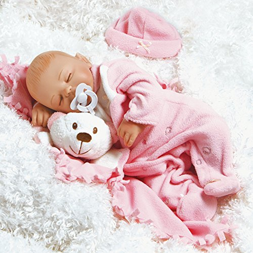 Paradise Galleries Newborn Baby Doll That Looks Real Baby Carly - 16 inch Sleeping Girl in GentleTouch Vinyl