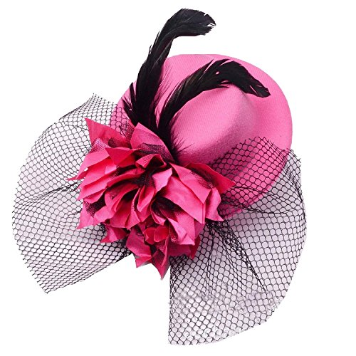 [Coolr Women's Fascinator Flower Hair Clip Feather Burlesque Punk Mini Hat Rose] (Pink Top Hats)