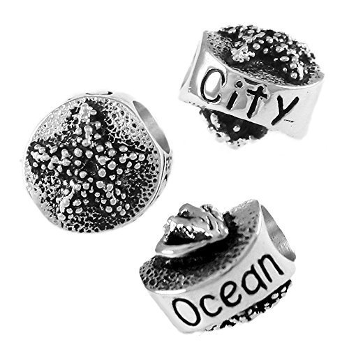 Ocean City Starfish and Sea Shell - 925 Sterling Silver Charm Bead - Perfect Summer Beach Vacation Travel Souvenir and Gift
