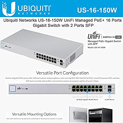 UniFi Network Switch US-16-150W Switch Managed PoE+ Gigabit Switch with SFP 150W