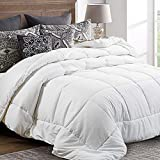 Goose Down Alternative Quilted Comforter with Corner Tabs - Hypoallergenic -Double Plush Fabric -Super Microfiber Fill -Machine Washable - Duvet Insert & Stand-Alone Comforter(White, Queen)