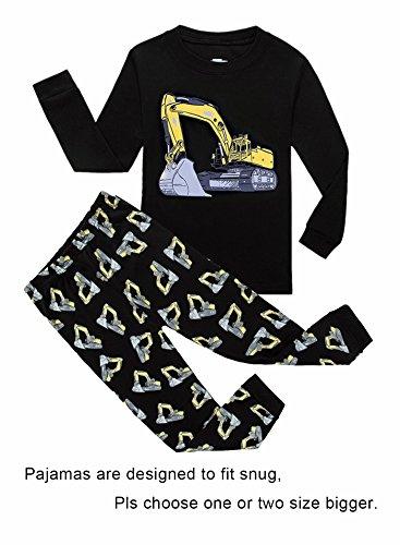 KikizYe Excavator Little Boys Long Sleeve Pajamas 100% Cotton Pjs Toddler Sleepwears Size 2T -