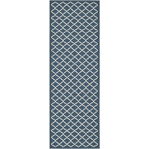 Safavieh Courtyard Collection CY6919-268 Navy and Beige Indoor/ Outdoor Runner (2'3