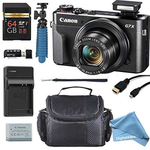 Canon PowerShot G7 X Mark II 20.1MP 4.2x Optical Zoom Digital Camera + 64GB Memory Card + Deluxe Camera Case + HDMI Cable + Spider Tripod +DigitalAndMore Premium Accessories Bundle (Cyber Monday Deal)
