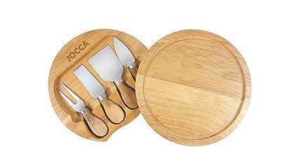 Jocca 5182 Set de Tabla y Cuchillos para Queso, Marrón, 20 cm