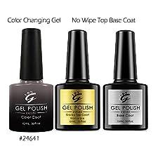Soak off UV/LED Mood Color changing Gel Nail Polish with No Wipe Top Base Coat Kit (Grey Taupe)