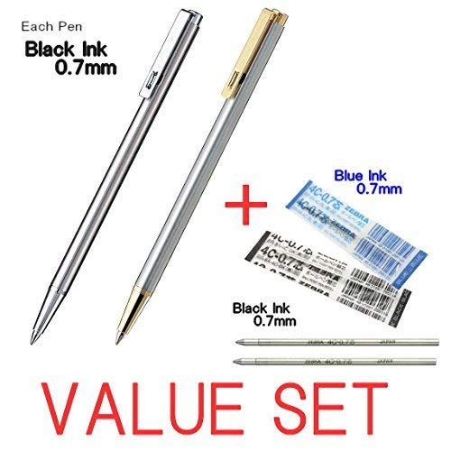 (Zebra Mini Ballpoint Pen/0.7mm Black Ink/T-3 (Silver Body) & T-5(Silver+Gold Body) each 1Pen + 2 Refills(1Black Ink & 1Blue Ink) Value Set/With Our Shop Original Product Description )