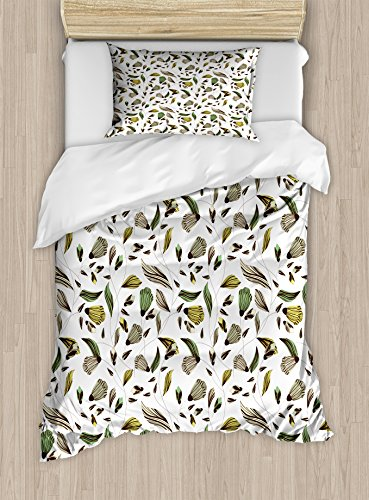 Ambesonne Floral Twin Size Duvet Cover Set, Earth Tones Bouq