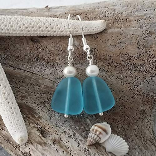 Handmade in Hawaii, turquoise bay blue sea glass earrings,December Birthstone, freshwater pearl, sterling silver hooks, Hawaiian Gift, FREE gift wrap, FREE gift message, FREE shipping