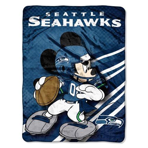 NFL Seattle Seahawks Mickey Mouse Ultra Plush Micro Super Soft Raschel Throw Blanket