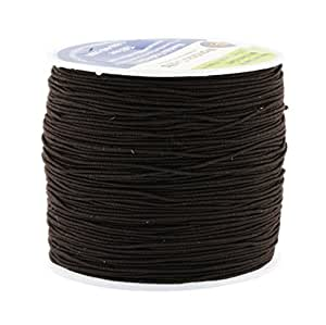 Mandala Crafts 0.6mm 80M Round Rubber Fabric Crafting Stretch Elastic Cord String (Brown)