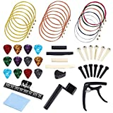 Auihiay 51 PCS Acoustic Guitar Strings Kit Include