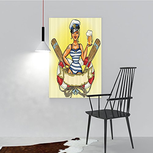 Wall Art Painting Frameless Pin Up Sexy Sailor Girl in Lifebuoy with Captain Hat and Costume Glass of Femin Posters Wall Decor Gift W20 x H40