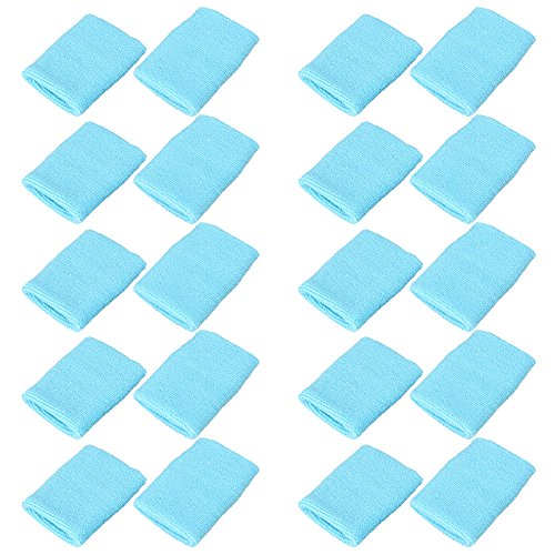 Mallofusa 10 Pack Colorful Sports Basketball Football Absorbent Wristband Party Outdoor Activity (Light Blue)]()