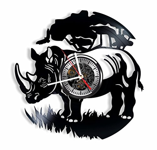 Rhino vinyl wall clock – handmade Rhino ornament decoration and gift idea for any occasion