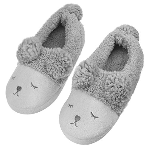 Indoor Warm Fleece Slippers, Girls Cute Cartoon Winter Soft Cozy Booties Non-Slip Plush Mules Home Bedroom Slip-on Shoes Ankle Boots (US Size: 7/8(EUR Size: 38/39), Grey Squinting Sheep)